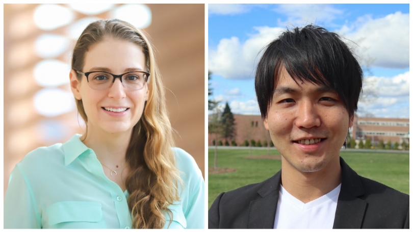 Amanda Amodeo, assistant professor of biological sciences, and Yuki Shindo, a postdoctoral research fellow in Dartmouth's Amodeo Lab.